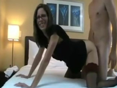 Skinny brunette mom gets cum shot on her pussy